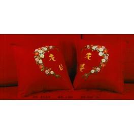 Zestaw wstążeczkowy - Poszewka - kwiatowe serce