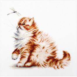 Stickpackung - Katze mit Libelle