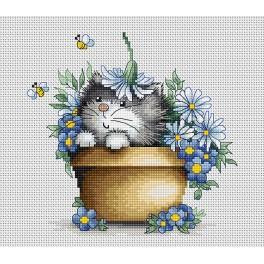 Stickpackung - Katze in Blumen