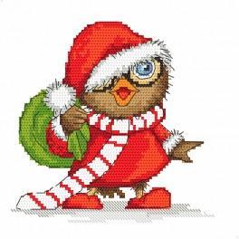 Set mit Aufdruck und Stickgarn - Weihnachtseule