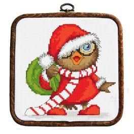 Set mit Aufdruck, Stickgarn und Rahmen - Weihnachtseule