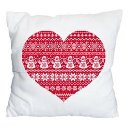 Stickpackung mit Stickgarn und Kissenbezug – Kissen - Skandinavisches Herz