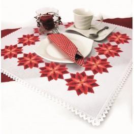 Stickpackung mit Stickgarn und Serviette - Serviette - Stilisierter Weihnachtsstern I