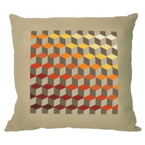 Stickpackung mit Stickgarn und Kissenbezug – Kissen - Rhombische Illusion
