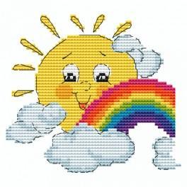 Zahlmuster online - Sonne mit Regenbogen