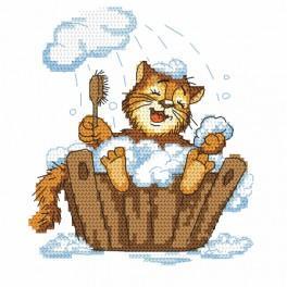 Stickpackung - Katze im Bad