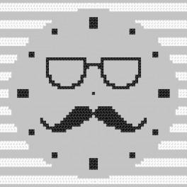 Zählmuster online - Uhr mit Schnurrbart