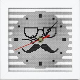 Stickpackung mit Stickgarn, Uhrwerk und Rahmen - Uhr mit Schnurrbart