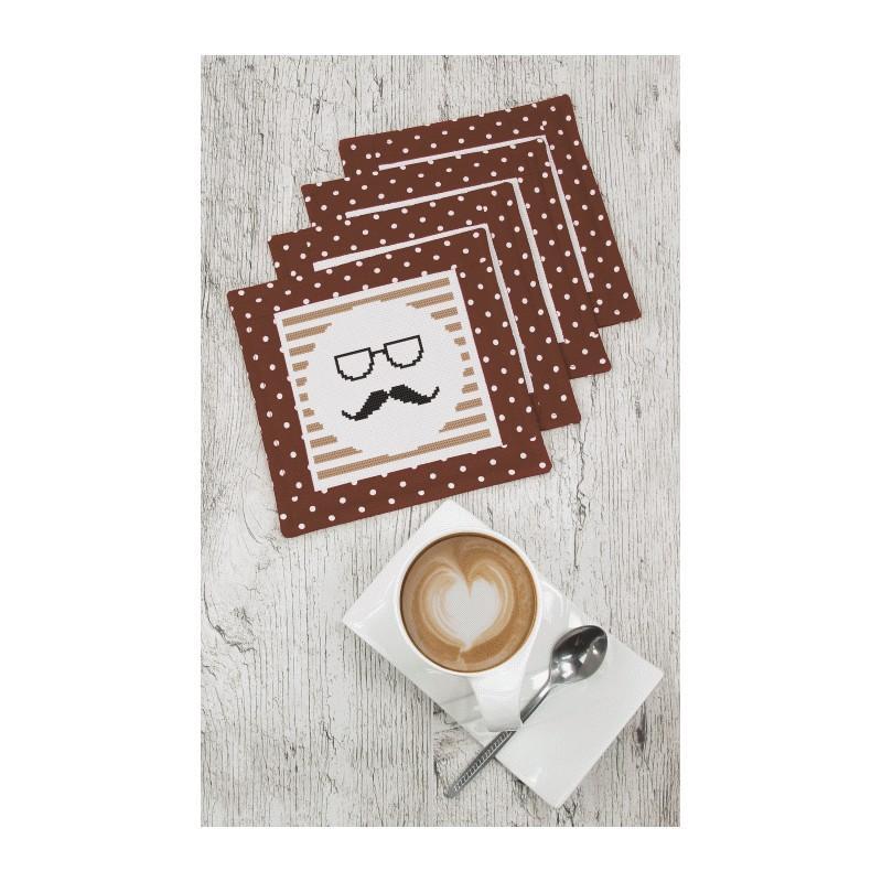 Stickpackung mit Stickgarn, Uhrwerk und Rahmen - Uhr mit Schnurrbart ...