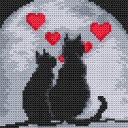 Zählmuster online - Verliebte Katzen