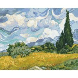 Set mit Aida mit Aufdruck und Stickgarn - Weizenfeld mit Zypressen - V. van Gogh