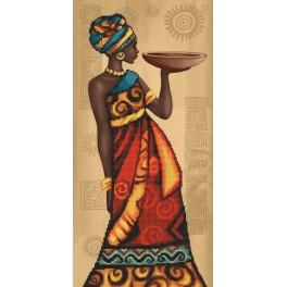 Stickpackung mit Aufdruck, Stickgarn und Hintergrund - Der afrikanische Charme