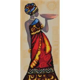 Stickpackung mit Aufdruck, Perlen und Hintergrund - Der afrikanische Charme