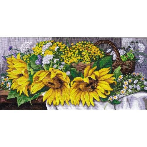 Set mit Stickgarn und Perlen - Sonnenblumen