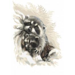 Zählmuster - Liebe Waschbären