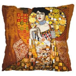 Stickpackung mit Stickgarn und Kissenbezug – Kissen - Porträt Adele Bloch-Bauer - G. Klimt