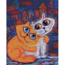 Stickpackung mit Aufdruck, Stickgarn und Hintergrund - Katzenliebe