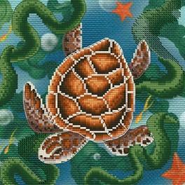 Stickpackung mit Stickgarn und Hintergrund - Schildkröte