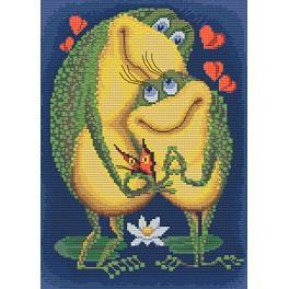 Stickpackung mit Stickgarn und Perlen - Liebe