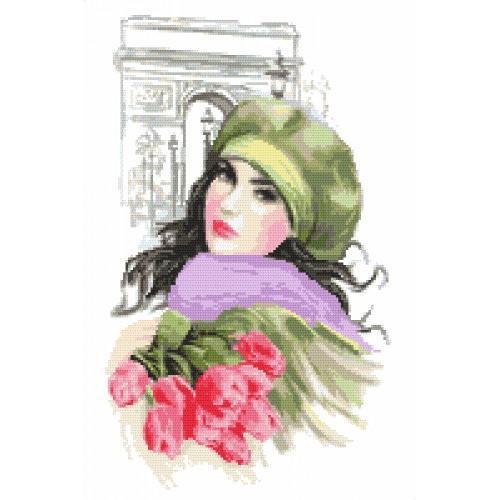 Set mit Aida mit Aufdruck und Stickgarn - Mädchen mit Tulpen