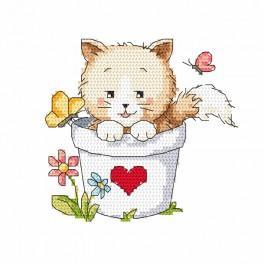 Aida mit Aufdruck - Katze im Blumentopf