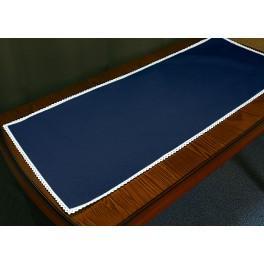 Tischläufer Aida mit Spitze 40x90 cm dunkelblau