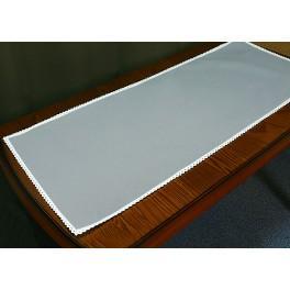 Tischläufer Aida mit Spitze 40x90 cm aschgrau