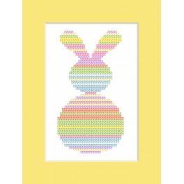 Stickpackung - Karte - Pastellfarbener Hase