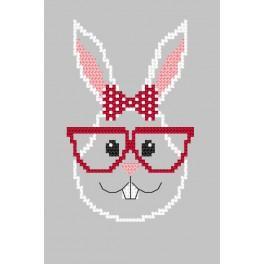Zählmuster - Karte - Hipster rabbit girl