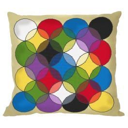 Stickpackung mit Stickgarn und Kissenbezug – Kissen - Kaleidoskop der Farben