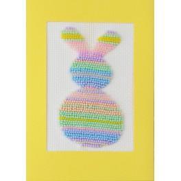 Stickpackung mit Perlen und Karte - Pastellfarbener Hase