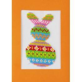 Stickpackung mit Perlen und Karte - Bunter Hase