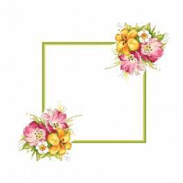 Zählmuster online - Serviette mit Frühlingsstrauß