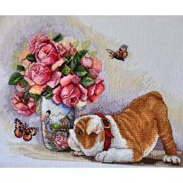 Stickpackung - Bulldogge und Schmetterlinge