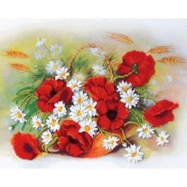 Stickpackungen mit Perlen - Rote Mohnblumen