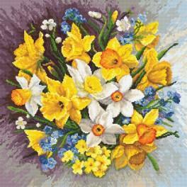 Set mit Aida mit Aufdruck und Stickgarn - Frühlingsblumen