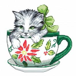 Stickpackung - Katze in der Tasse