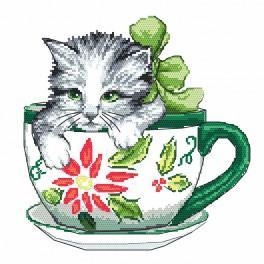 Set mit Aida mit Aufdruck und Stickgarn - Katze in der Tasse