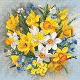 Set mit Aida mit Aufdruck und Stickgarn - Frühlingsblumen II