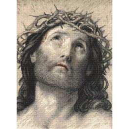 Set mit Aida mit Aufdruck und Stickgarn - Jesus Christus nach Guido Reni
