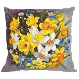 Stickpackung mit Kissenbezug - Kissen - Frühlingsblumen