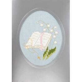 Stickpackung mit Stickgarn und Karte - Kommunionskarte - Bibel