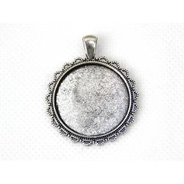 Runde Medaillonbasis silberne Farbe 30mm