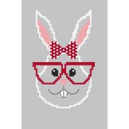 Zählmuster online - Karte - Hipster rabbit girl