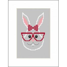 ZI 8900 Stickpackung mit Stickgarn und Perlen - Karte - Hipster rabbit girl