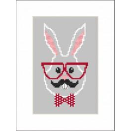 Stickpackung - Karte - Hipster rabbit boy