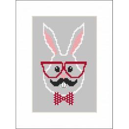 Stickpackung mit Stickgarn und Perlen - Karte - Hipster rabbit girl