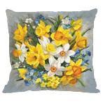 Stickpackung mit Stickgarn und Kissenbezug - Kissen - Frühlingsblumen II