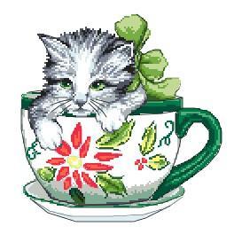 K 4378 Gobelin - Katze in der Tasse