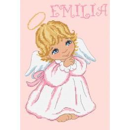 ZN 10095 Set mit Aida mit Aufdruck und Stickgarn - Engelchen für Mädchen